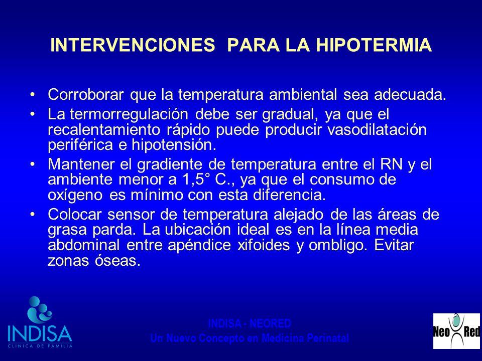 INDISA - NEORED Un Nuevo Concepto en Medicina Perinatal INTERVENCIONES PARA LA HIPOTERMIA Corroborar que la temperatura ambiental sea adecuada. La ter