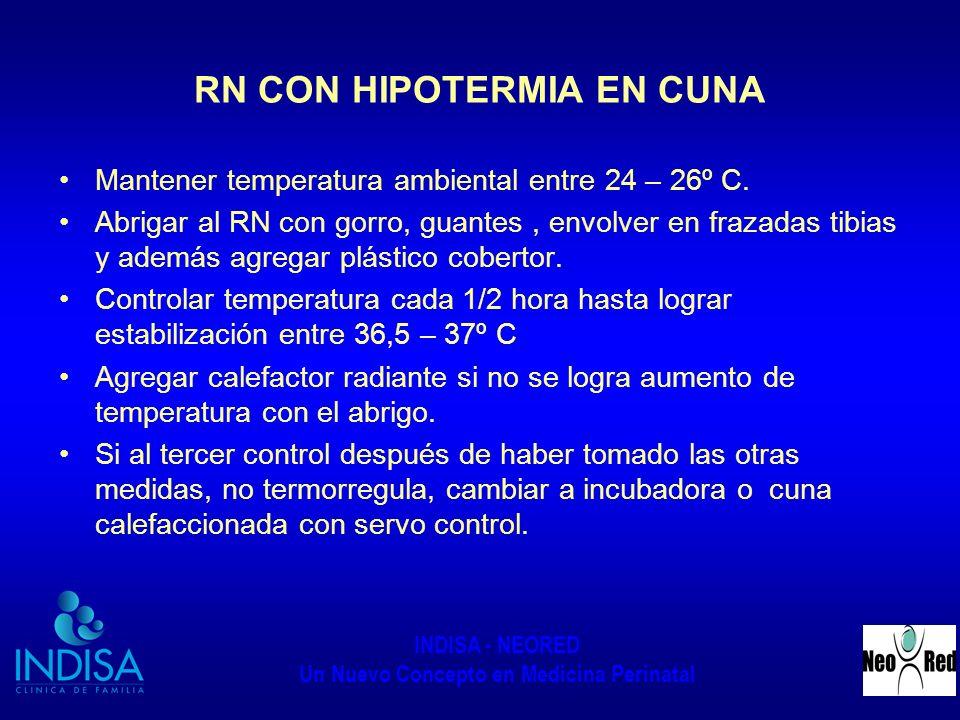 INDISA - NEORED Un Nuevo Concepto en Medicina Perinatal RN CON HIPOTERMIA EN CUNA Mantener temperatura ambiental entre 24 – 26º C. Abrigar al RN con g