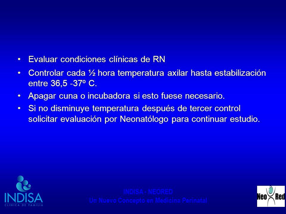 INDISA - NEORED Un Nuevo Concepto en Medicina Perinatal Evaluar condiciones clínicas de RN Controlar cada ½ hora temperatura axilar hasta estabilizaci