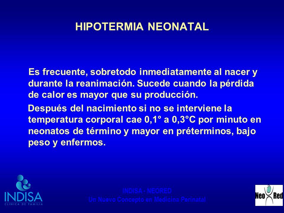 INDISA - NEORED Un Nuevo Concepto en Medicina Perinatal HIPOTERMIA NEONATAL Es frecuente, sobretodo inmediatamente al nacer y durante la reanimación.