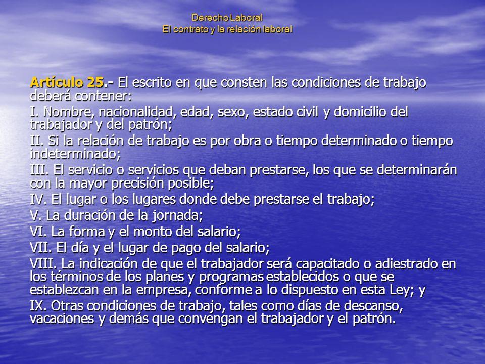 Derecho Laboral El contrato y la relación laboral Artículo 25.- El escrito en que consten las condiciones de trabajo deberá contener: I. Nombre, nacio