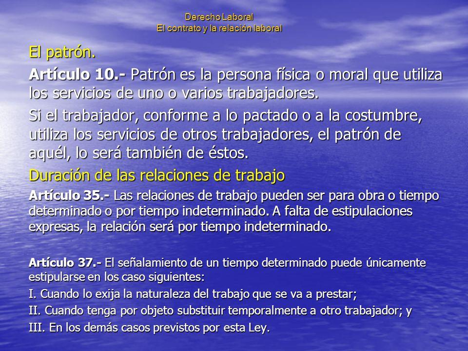 Derecho Laboral El contrato y la relación laboral El patrón. Artículo 10.- Patrón es la persona física o moral que utiliza los servicios de uno o vari