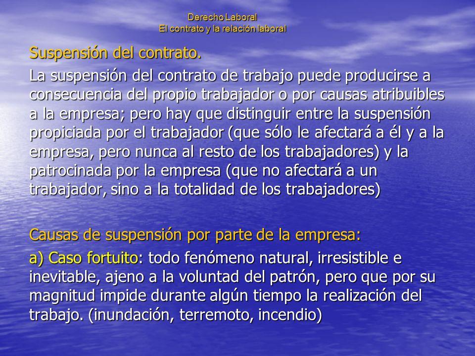 Derecho Laboral El contrato y la relación laboral Suspensión del contrato. La suspensión del contrato de trabajo puede producirse a consecuencia del p