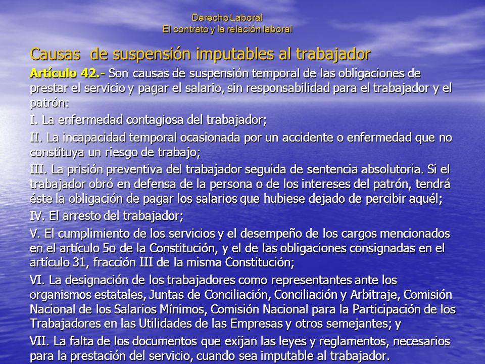 Derecho Laboral El contrato y la relación laboral Causas de suspensión imputables al trabajador Artículo 42.- Son causas de suspensión temporal de las