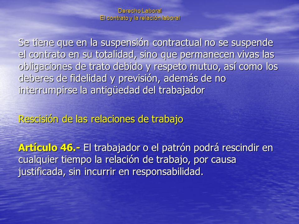 Derecho Laboral El contrato y la relación laboral Se tiene que en la suspensión contractual no se suspende el contrato en su totalidad, sino que perma