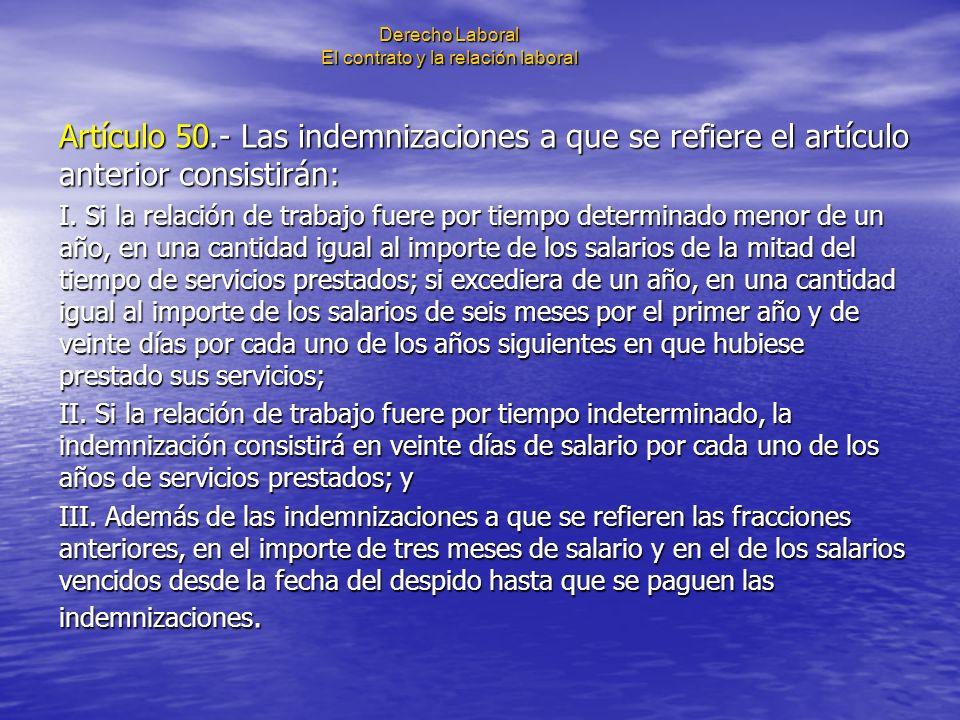 Derecho Laboral El contrato y la relación laboral Artículo 50.- Las indemnizaciones a que se refiere el artículo anterior consistirán: I. Si la relaci