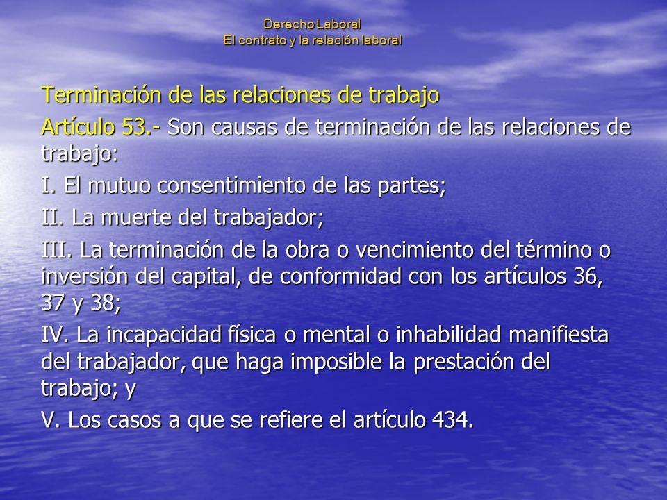 Derecho Laboral El contrato y la relación laboral Terminación de las relaciones de trabajo Artículo 53.- Son causas de terminación de las relaciones d