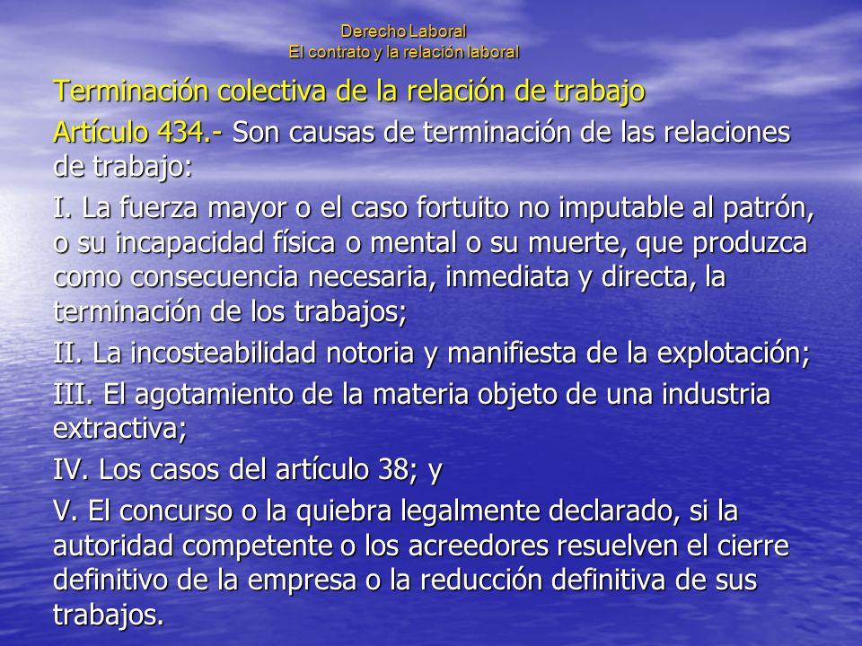Derecho Laboral El contrato y la relación laboral Terminación colectiva de la relación de trabajo Artículo 434.- Son causas de terminación de las rela