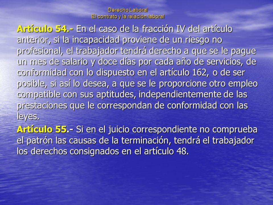 Derecho Laboral El contrato y la relación laboral Artículo 54.- En el caso de la fracción IV del artículo anterior, si la incapacidad proviene de un r