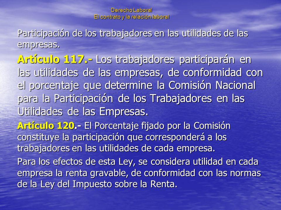 Derecho Laboral El contrato y la relación laboral Participación de los trabajadores en las utilidades de las empresas. Artículo 117.- Los trabajadores