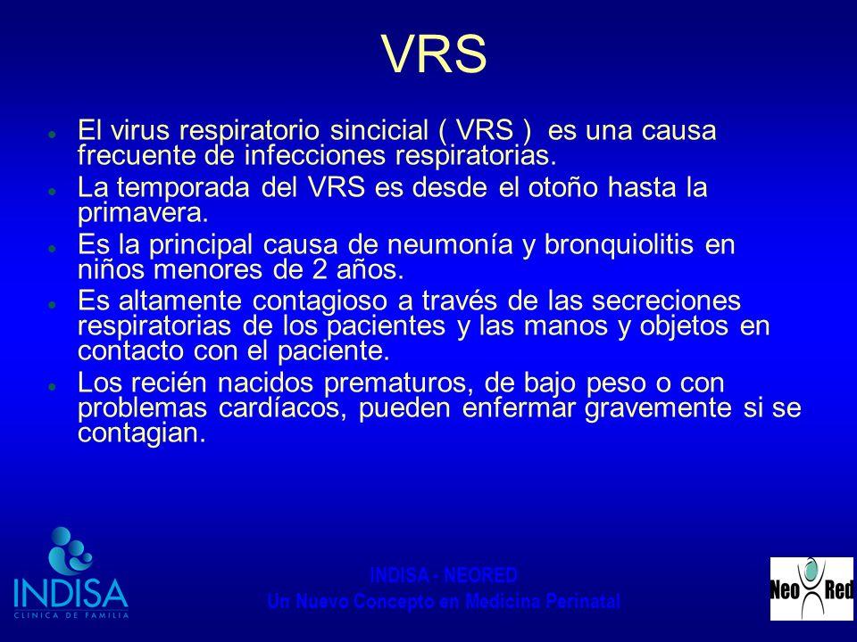 INDISA - NEORED Un Nuevo Concepto en Medicina Perinatal VRS El virus respiratorio sincicial ( VRS ) es una causa frecuente de infecciones respiratoria