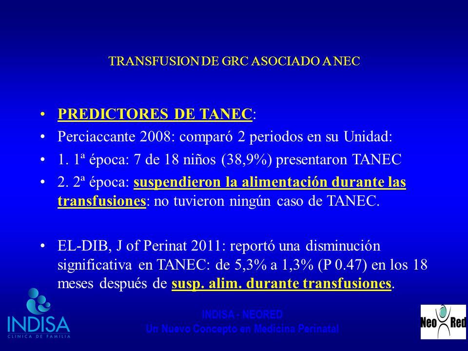 INDISA - NEORED Un Nuevo Concepto en Medicina Perinatal TRANSFUSION DE GRC ASOCIADO A NEC PREDICTORES DE TANEC: Perciaccante 2008: comparó 2 periodos