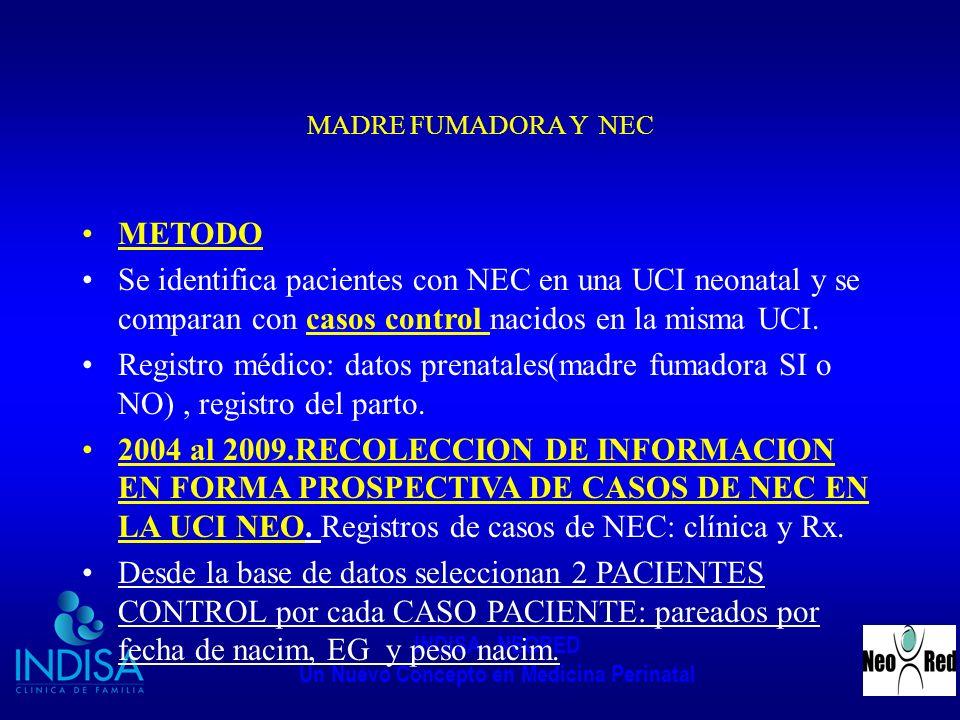 INDISA - NEORED Un Nuevo Concepto en Medicina Perinatal MADRE FUMADORA Y NEC METODO Se identifica pacientes con NEC en una UCI neonatal y se comparan