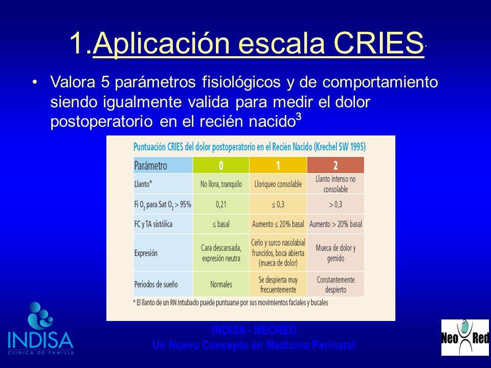 INDISA - NEORED Un Nuevo Concepto en Medicina Perinatal 1.Aplicación escala CRIES. Valora 5 parámetros fisiológicos y de comportamiento siendo igualme