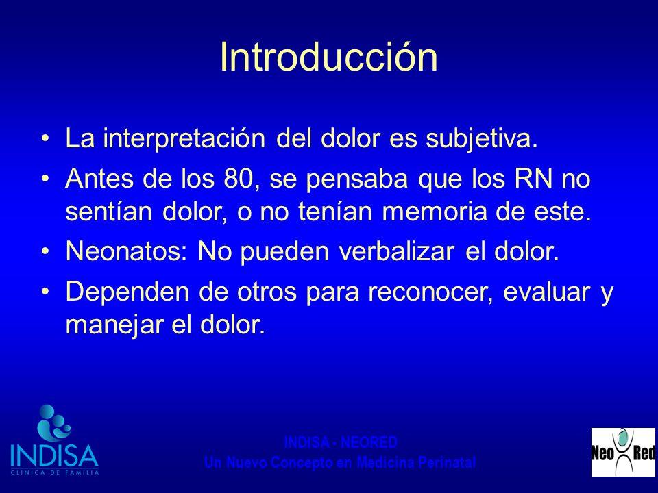 INDISA - NEORED Un Nuevo Concepto en Medicina Perinatal Introducción La interpretación del dolor es subjetiva. Antes de los 80, se pensaba que los RN