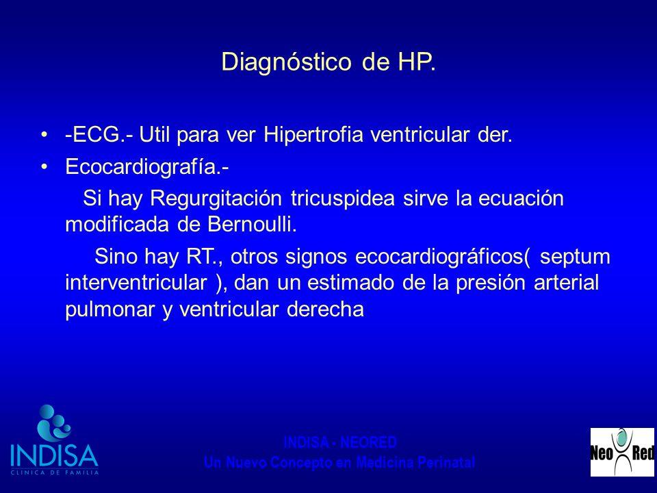 INDISA - NEORED Un Nuevo Concepto en Medicina Perinatal Diagnóstico de HP. -ECG.- Util para ver Hipertrofia ventricular der. Ecocardiografía.- Si hay