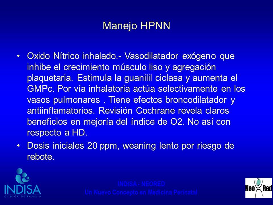 INDISA - NEORED Un Nuevo Concepto en Medicina Perinatal Manejo HPNN Oxido Nítrico inhalado.- Vasodilatador exógeno que inhibe el crecimiento músculo l