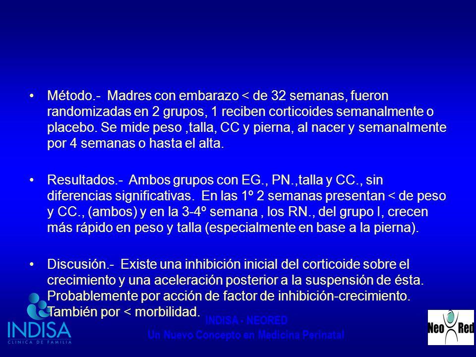 INDISA - NEORED Un Nuevo Concepto en Medicina Perinatal Manejo HPNN Oxido Nítrico inhalado.- Vasodilatador exógeno que inhibe el crecimiento músculo liso y agregación plaquetaria.