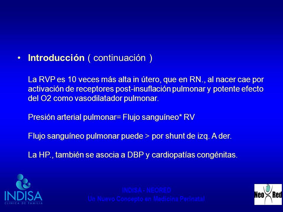 INDISA - NEORED Un Nuevo Concepto en Medicina Perinatal Introducción ( continuación ) La RVP es 10 veces más alta in útero, que en RN., al nacer cae p