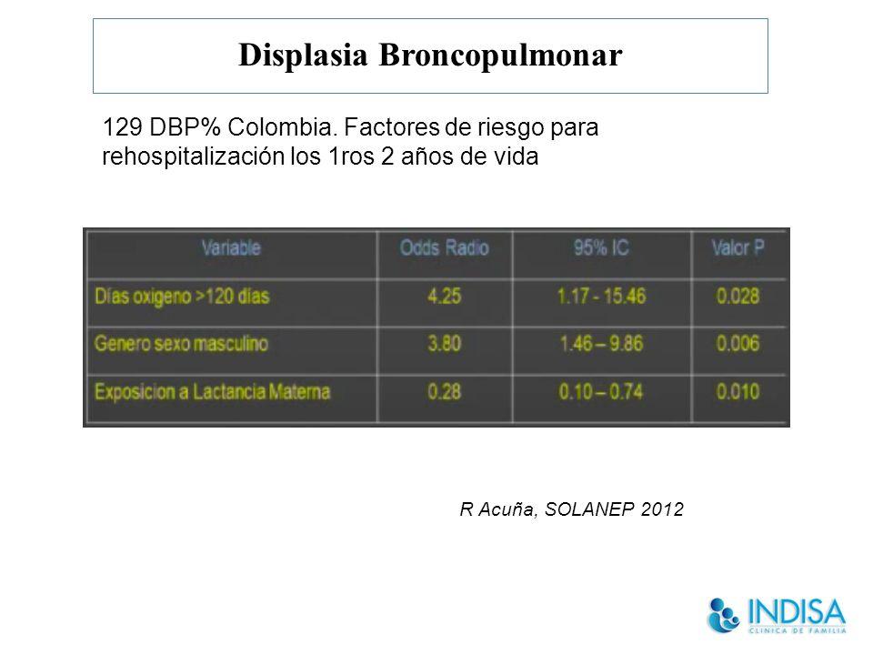 Displasia Broncopulmonar R Acuña, SOLANEP 2012 129 DBP% Colombia.