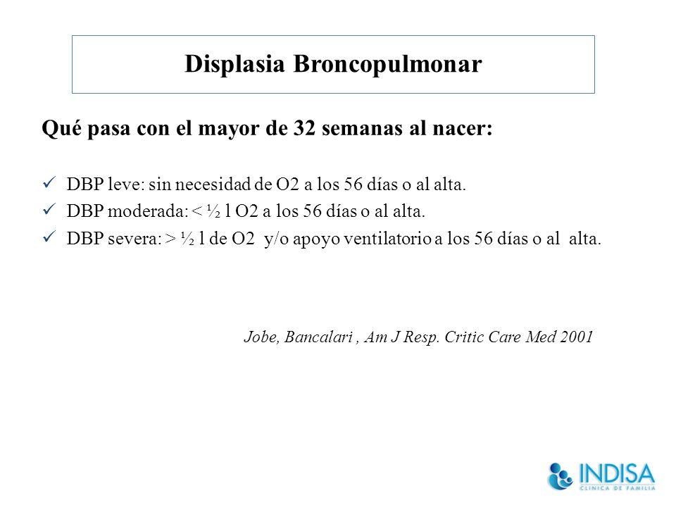 Displasia Broncopulmonar – Antes de nacer: Factores in útero Susceptibilidad genética – Después de nacer Oxigeno VM Sobrecarga de líquidos (ductus) Infecciones – Epigenética ¿Que hace que un prematuro desarrolle DBP?