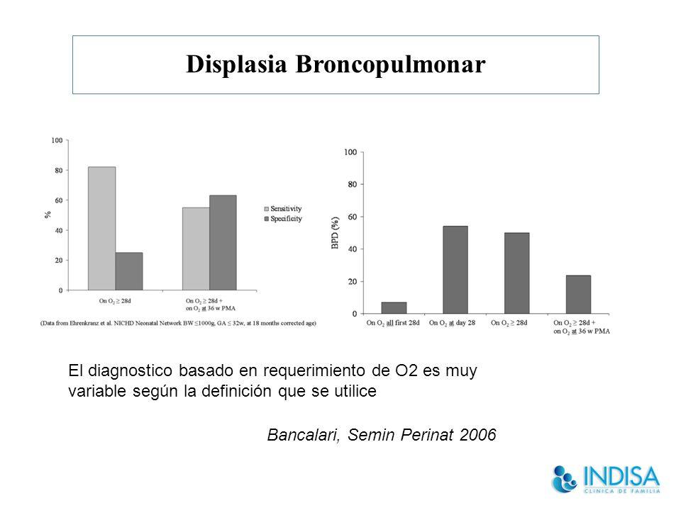 Displasia Broncopulmonar El diagnostico basado en requerimiento de O2 es muy variable según la definición que se utilice Bancalari, Semin Perinat 2006