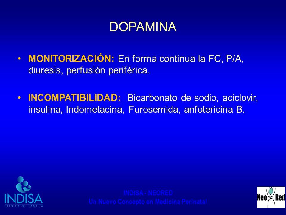 INDISA - NEORED Un Nuevo Concepto en Medicina Perinatal DOPAMINA MONITORIZACIÓN: En forma continua la FC, P/A, diuresis, perfusión periférica. INCOMPA