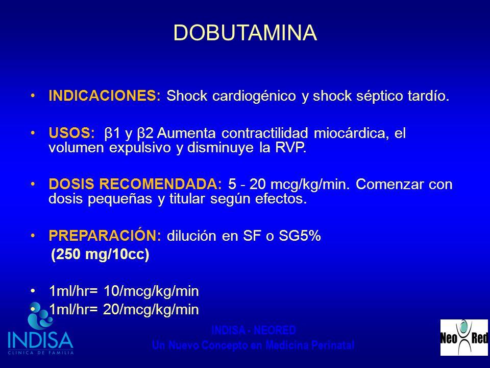 INDISA - NEORED Un Nuevo Concepto en Medicina Perinatal DOBUTAMINA INDICACIONES: Shock cardiogénico y shock séptico tardío. USOS: β1 y β2 Aumenta cont