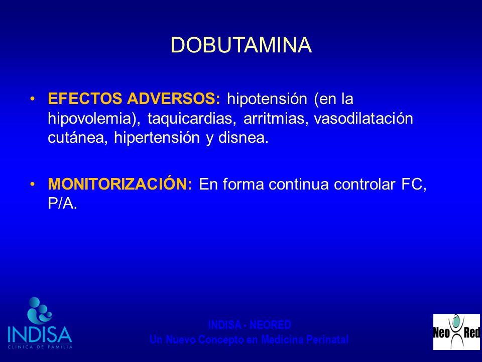INDISA - NEORED Un Nuevo Concepto en Medicina Perinatal DOBUTAMINA EFECTOS ADVERSOS: hipotensión (en la hipovolemia), taquicardias, arritmias, vasodil