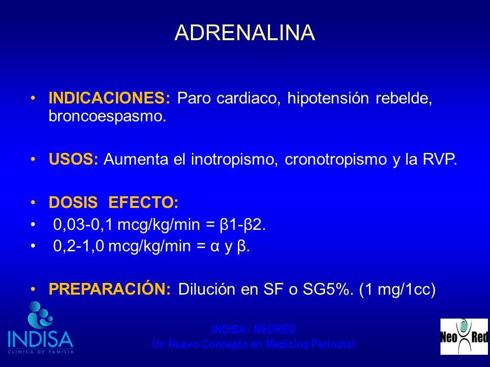INDISA - NEORED Un Nuevo Concepto en Medicina Perinatal ADRENALINA INDICACIONES: Paro cardiaco, hipotensión rebelde, broncoespasmo. USOS: Aumenta el i