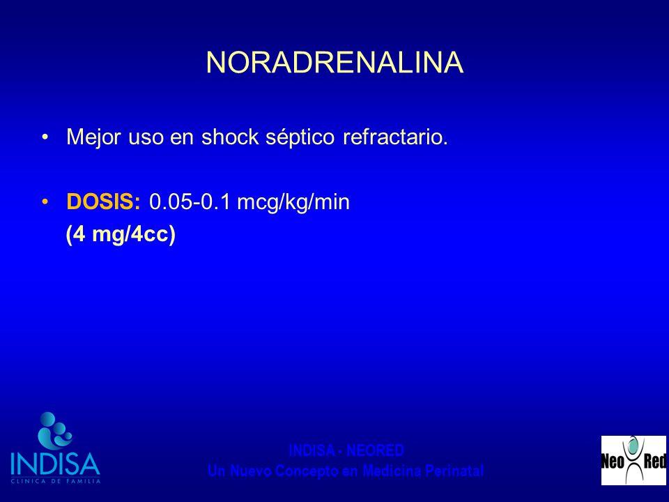 INDISA - NEORED Un Nuevo Concepto en Medicina Perinatal NORADRENALINA Mejor uso en shock séptico refractario. DOSIS: 0.05-0.1 mcg/kg/min (4 mg/4cc)
