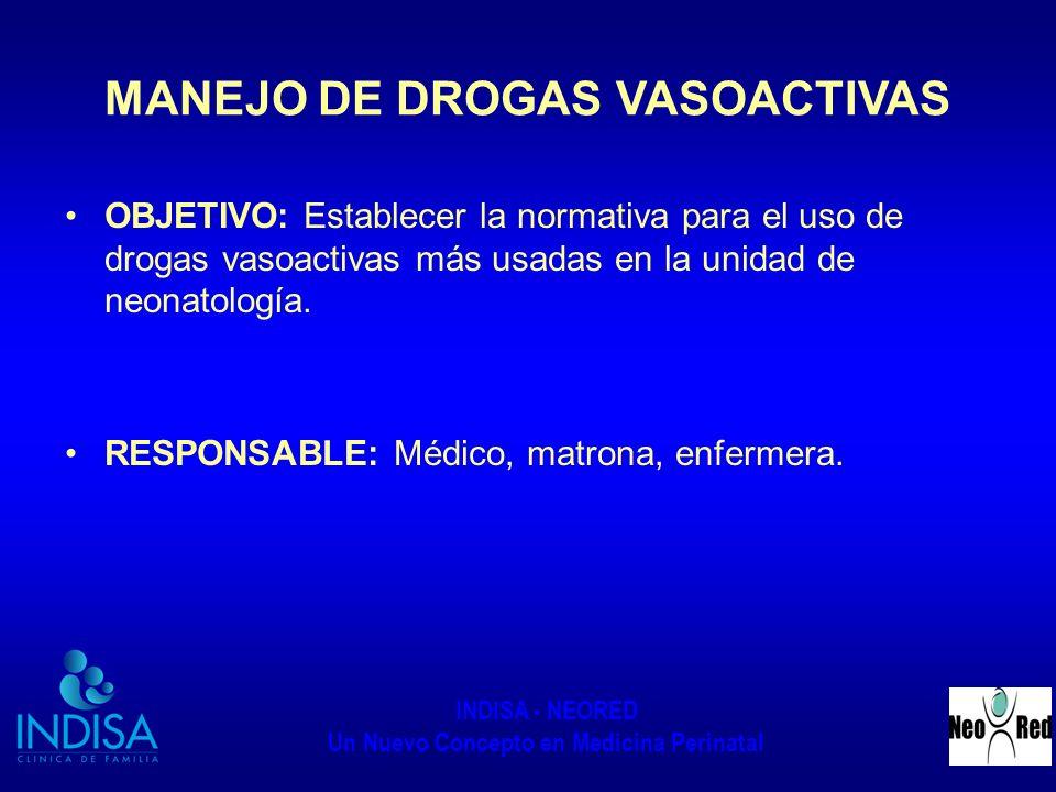 INDISA - NEORED Un Nuevo Concepto en Medicina Perinatal MANEJO DE DROGAS VASOACTIVAS OBJETIVO: Establecer la normativa para el uso de drogas vasoactiv