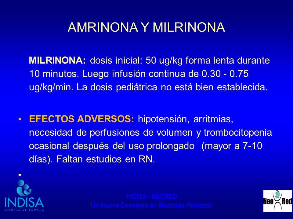 INDISA - NEORED Un Nuevo Concepto en Medicina Perinatal AMRINONA Y MILRINONA MILRINONA: dosis inicial: 50 ug/kg forma lenta durante 10 minutos. Luego