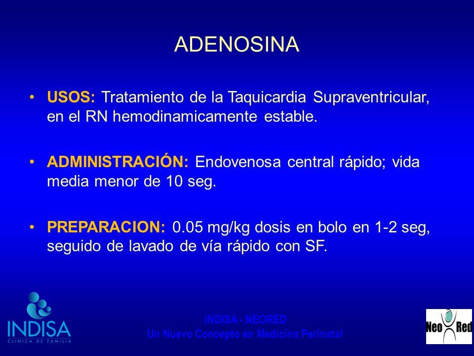 INDISA - NEORED Un Nuevo Concepto en Medicina Perinatal ADENOSINA USOS: Tratamiento de la Taquicardia Supraventricular, en el RN hemodinamicamente est