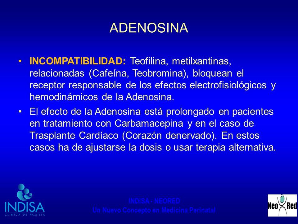 INDISA - NEORED Un Nuevo Concepto en Medicina Perinatal ADENOSINA INCOMPATIBILIDAD: Teofilina, metilxantinas, relacionadas (Cafeína, Teobromina), bloq