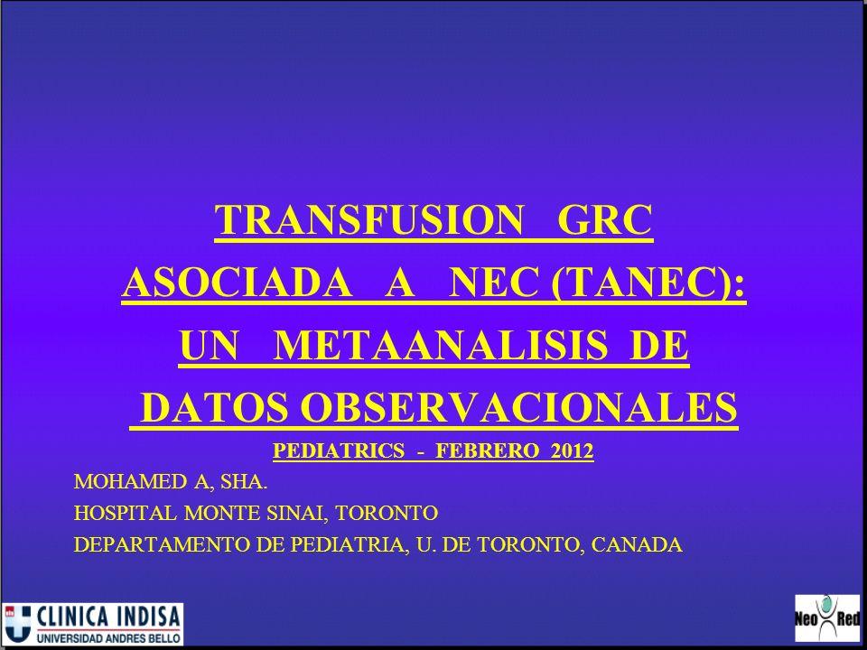 TRANSFUSION ASOCIADA A NEC NEC: enfermedad que afecta a RN prem.