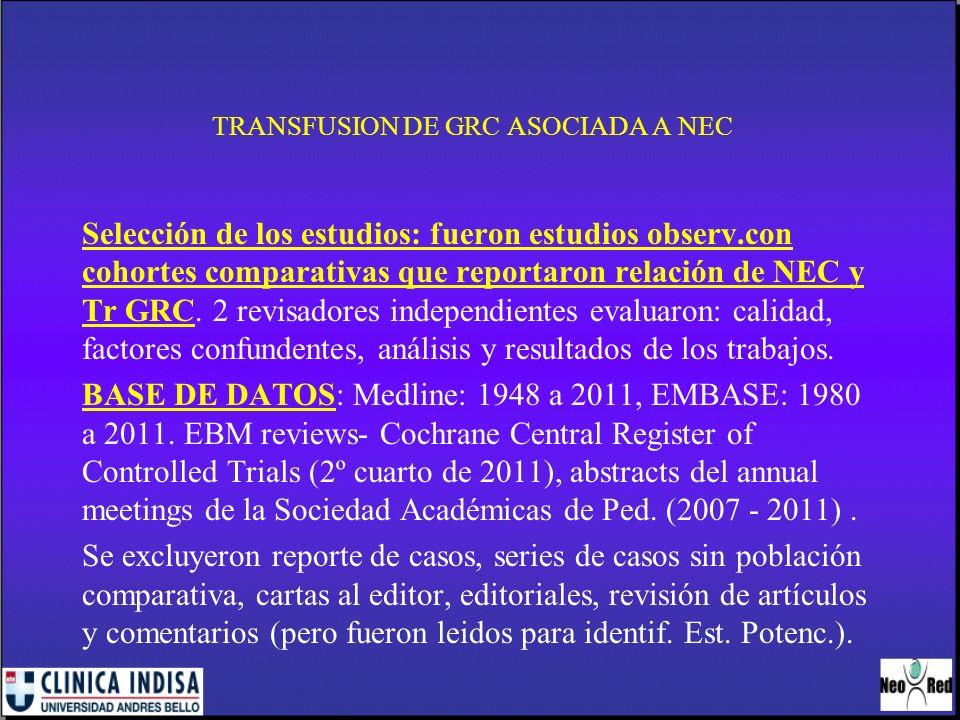 TRANSFUSION DE GRC ASOCIADA A NEC DEFINICION:exposicion a tr GRC dentro de las 48 hs antes del inicio de NEC.