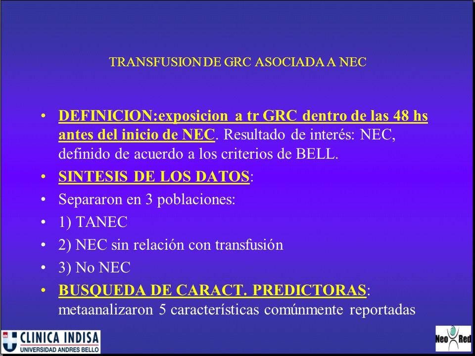 TRANSFUSION DE GRC ASOCIADA A NEC MEDICION DE RESULTADOSMEDICION DE RESULTADOS: Odds ratio, mediana para medición continua.