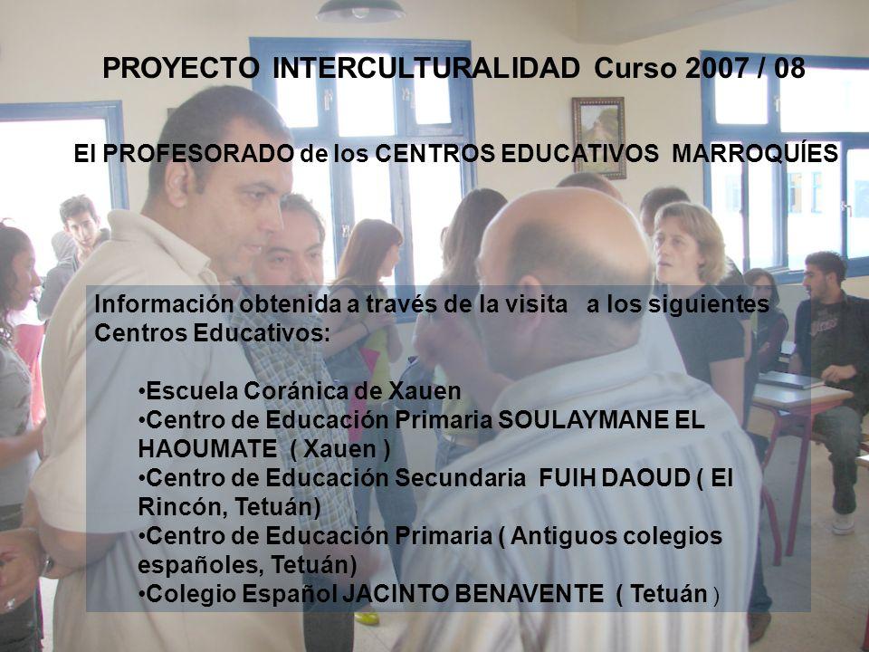 Información obtenida a través de la visita a los siguientes Centros Educativos: Escuela Coránica de Xauen Centro de Educación Primaria SOULAYMANE EL H