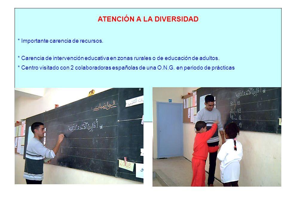 ATENCIÓN A LA DIVERSIDAD * Importante carencia de recursos. * Carencia de intervención educativa en zonas rurales o de educación de adultos. * Centro