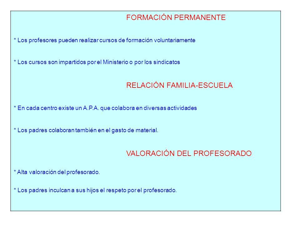FORMACIÓN PERMANENTE * Los profesores pueden realizar cursos de formación voluntariamente * Los cursos son impartidos por el Ministerio o por los sindicatos RELACIÓN FAMILIA-ESCUELA * En cada centro existe un A.P.A.