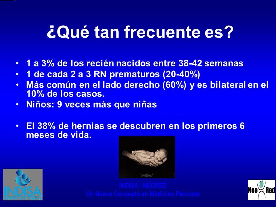 INDISA - NEORED Un Nuevo Concepto en Medicina Perinatal ¿ Qué tan frecuente es? 1 a 3% de los recién nacidos entre 38-42 semanas 1 de cada 2 a 3 RN pr