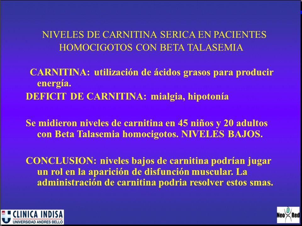 NIVELES DE CARNITINA SERICA EN PACIENTES HOMOCIGOTOS CON BETA TALASEMIA CARNITINA: utilización de ácidos grasos para producir energía. DEFICIT DE CARN
