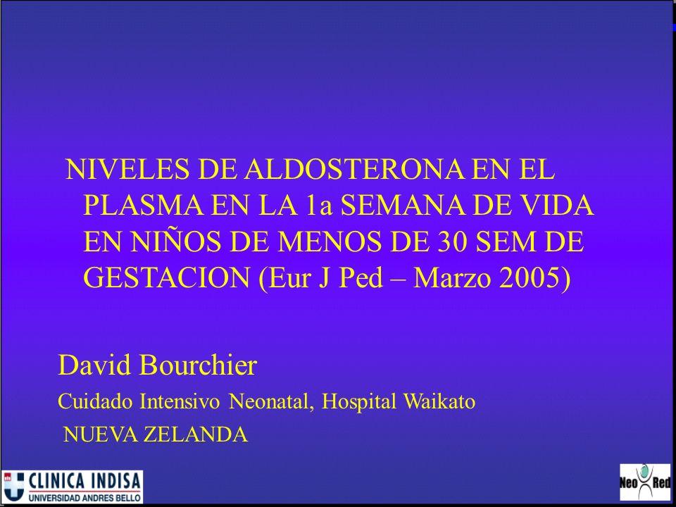 NIVELES DE ALDOSTERONA EN EL PLASMA EN LA 1a SEMANA DE VIDA EN NIÑOS DE MENOS DE 30 SEM DE GESTACION (Eur J Ped – Marzo 2005) David Bourchier Cuidado