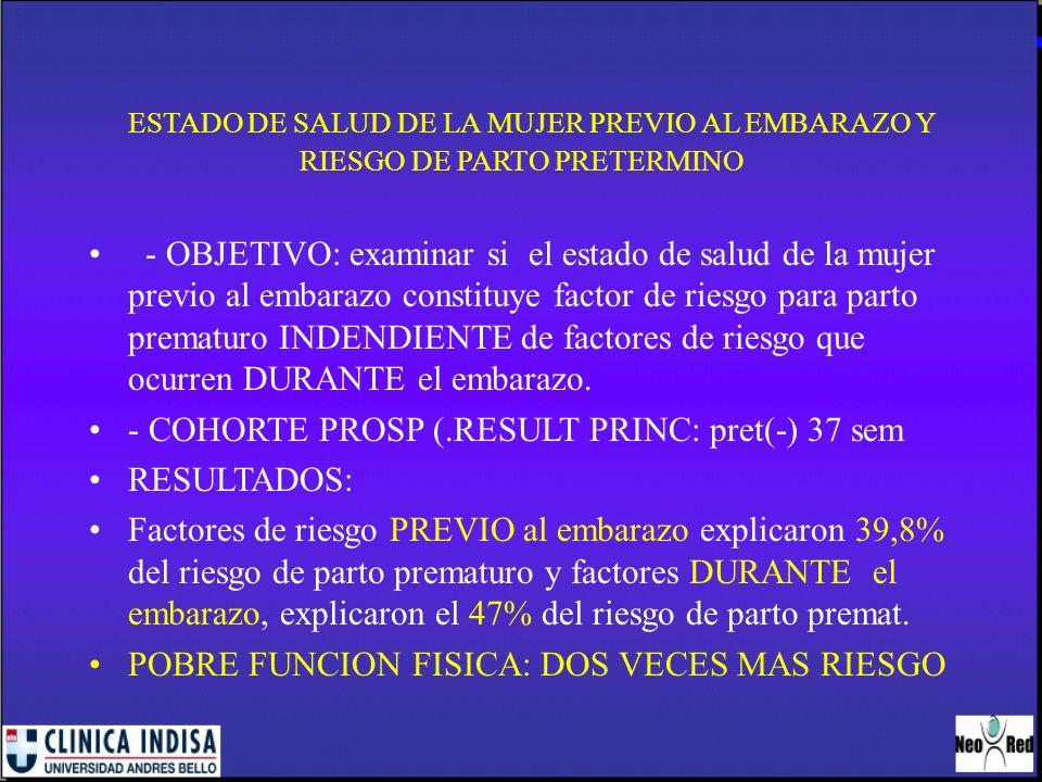 ESTADO DE SALUD DE LA MUJER PREVIO AL EMBARAZO Y RIESGO DE PARTO PRETERMINO - OBJETIVO: examinar si el estado de salud de la mujer previo al embarazo