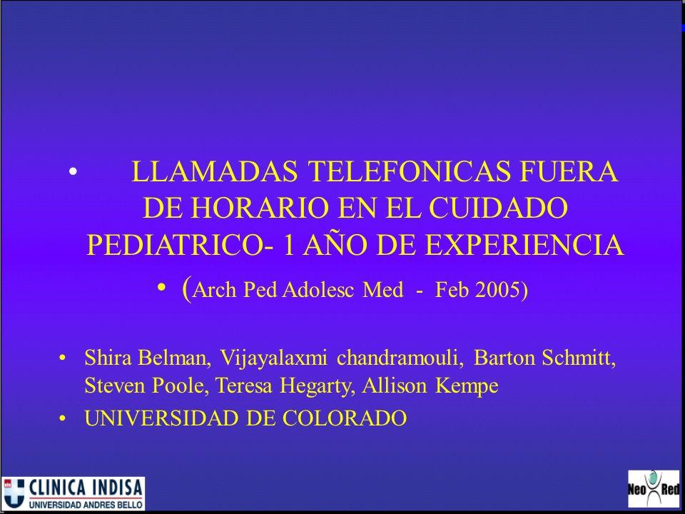LLAMADAS TELEFONICAS FUERA DE HORARIO EN EL CUIDADO PEDIATRICO- 1 AÑO DE EXPERIENCIA ( Arch Ped Adolesc Med - Feb 2005) Shira Belman, Vijayalaxmi chan