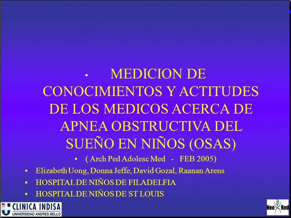 MEDICION DE CONOCIMIENTOS Y ACTITUDES DE LOS MEDICOS ACERCA DE APNEA OBSTRUCTIVA DEL SUEÑO EN NIÑOS (OSAS) ( Arch Ped Adolesc Med - FEB 2005) Elizabet