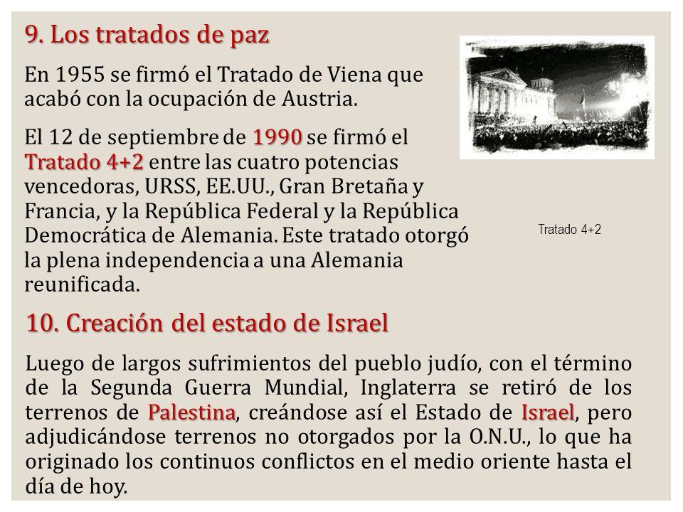 9. Los tratados de paz En 1955 se firmó el Tratado de Viena que acabó con la ocupación de Austria. 1990 Tratado 4+2 El 12 de septiembre de 1990 se fir