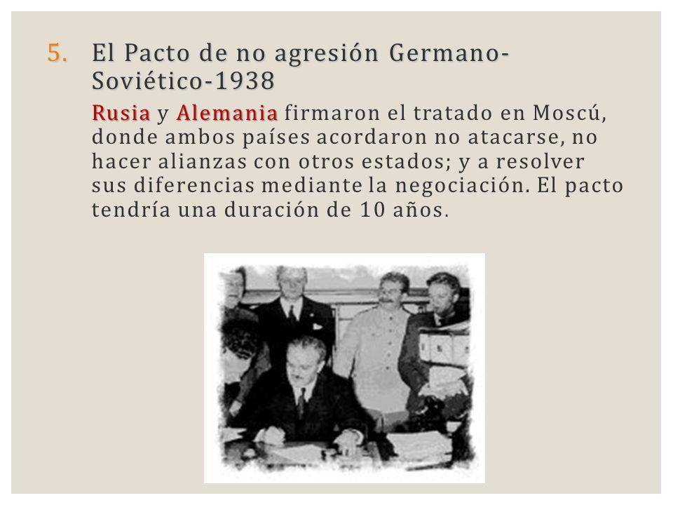 5.El Pacto de no agresión Germano- Soviético-1938 RusiaAlemania Rusia y Alemania firmaron el tratado en Moscú, donde ambos países acordaron no atacars