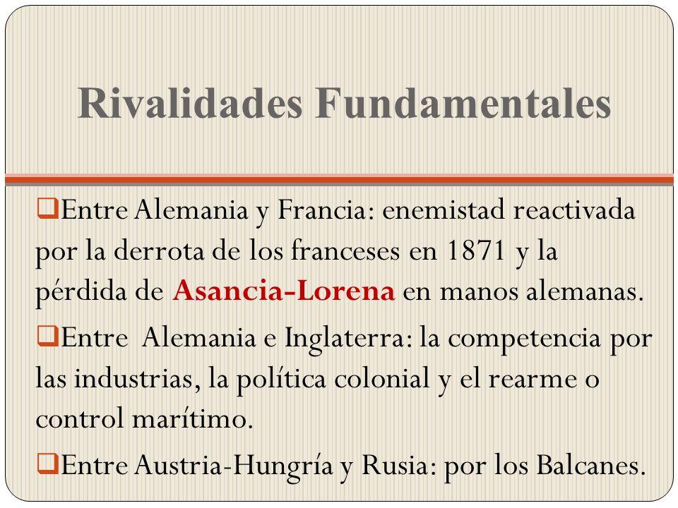 Rivalidades Fundamentales Entre Alemania y Francia: enemistad reactivada por la derrota de los franceses en 1871 y la pérdida de Asancia-Lorena en man